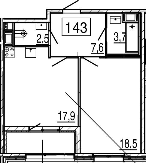 2-комнатная 54 м<sup>2</sup> на 11 этаже