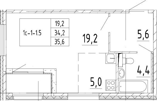 Студия 37 м<sup>2</sup> на 2 этаже