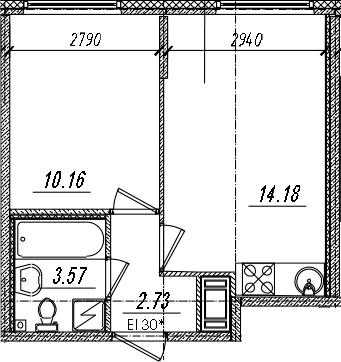 2-комнатная 30 м<sup>2</sup> на 14 этаже