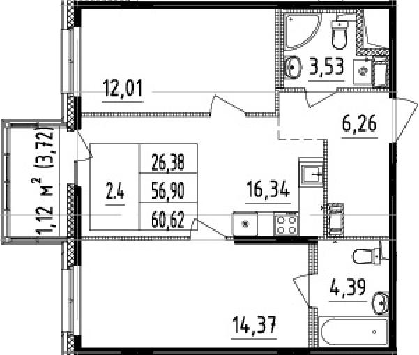 3-комнатная 60 м<sup>2</sup> на 7 этаже