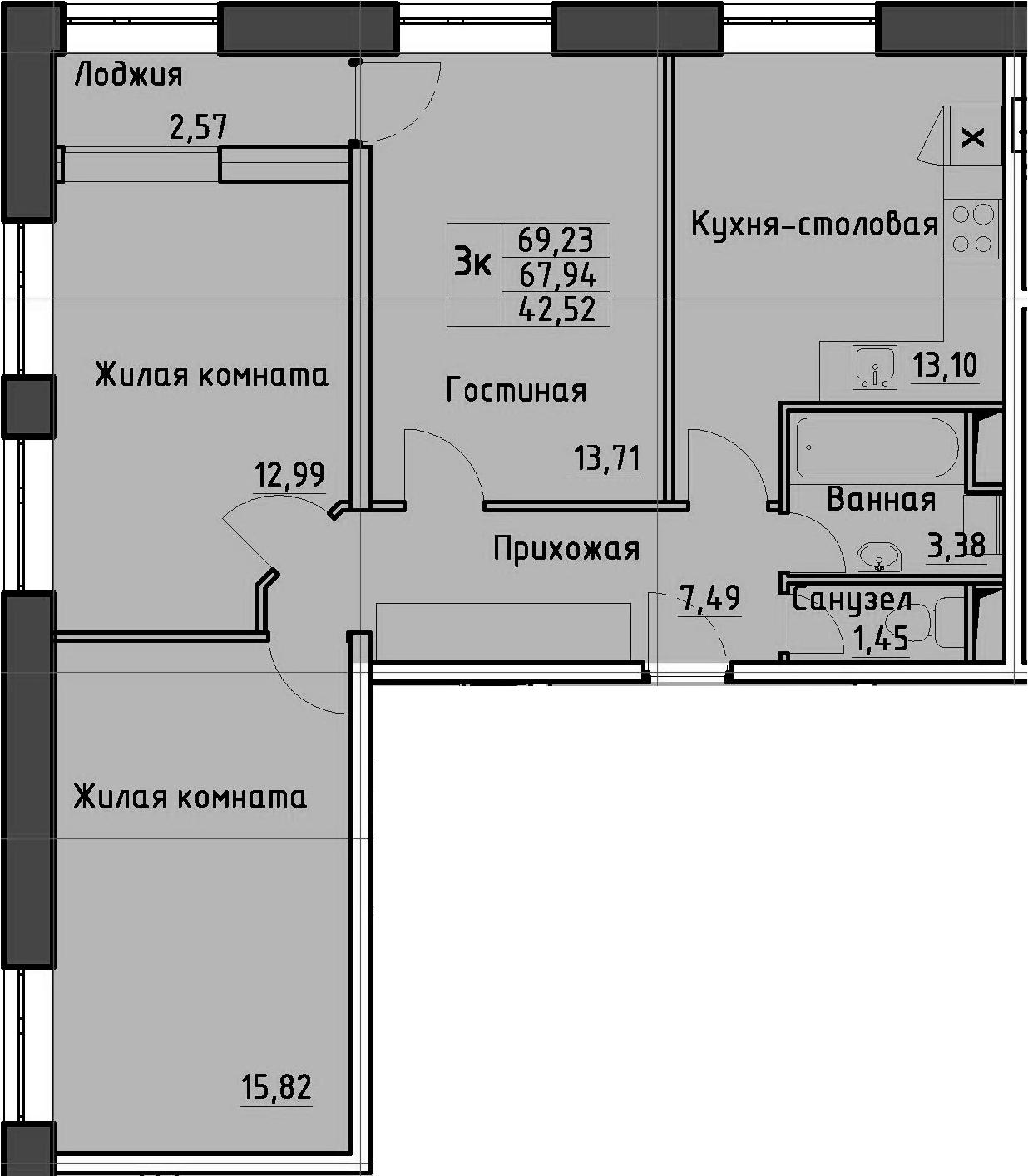 3-к.кв, 70.51 м²