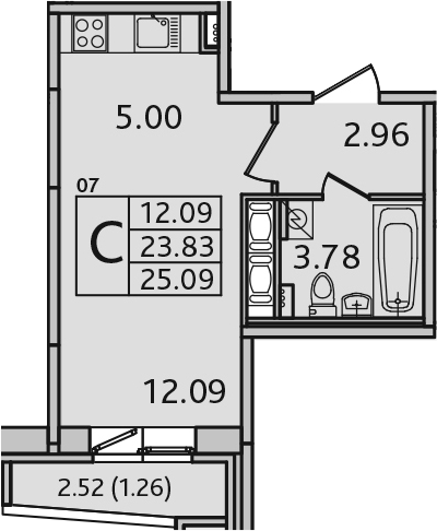Студия, 26.35 м²