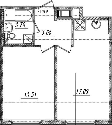 2-комнатная 38 м<sup>2</sup> на 6 этаже