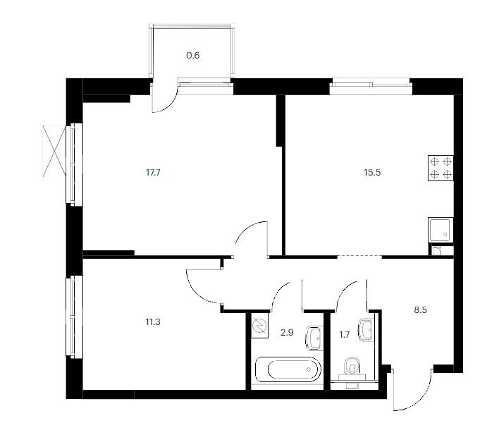 3-комнатная 59 м<sup>2</sup> на 17 этаже