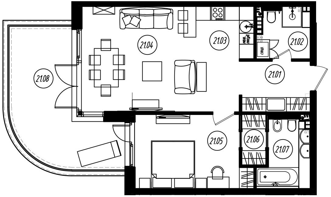 2-комнатная 80 м<sup>2</sup> на 3 этаже