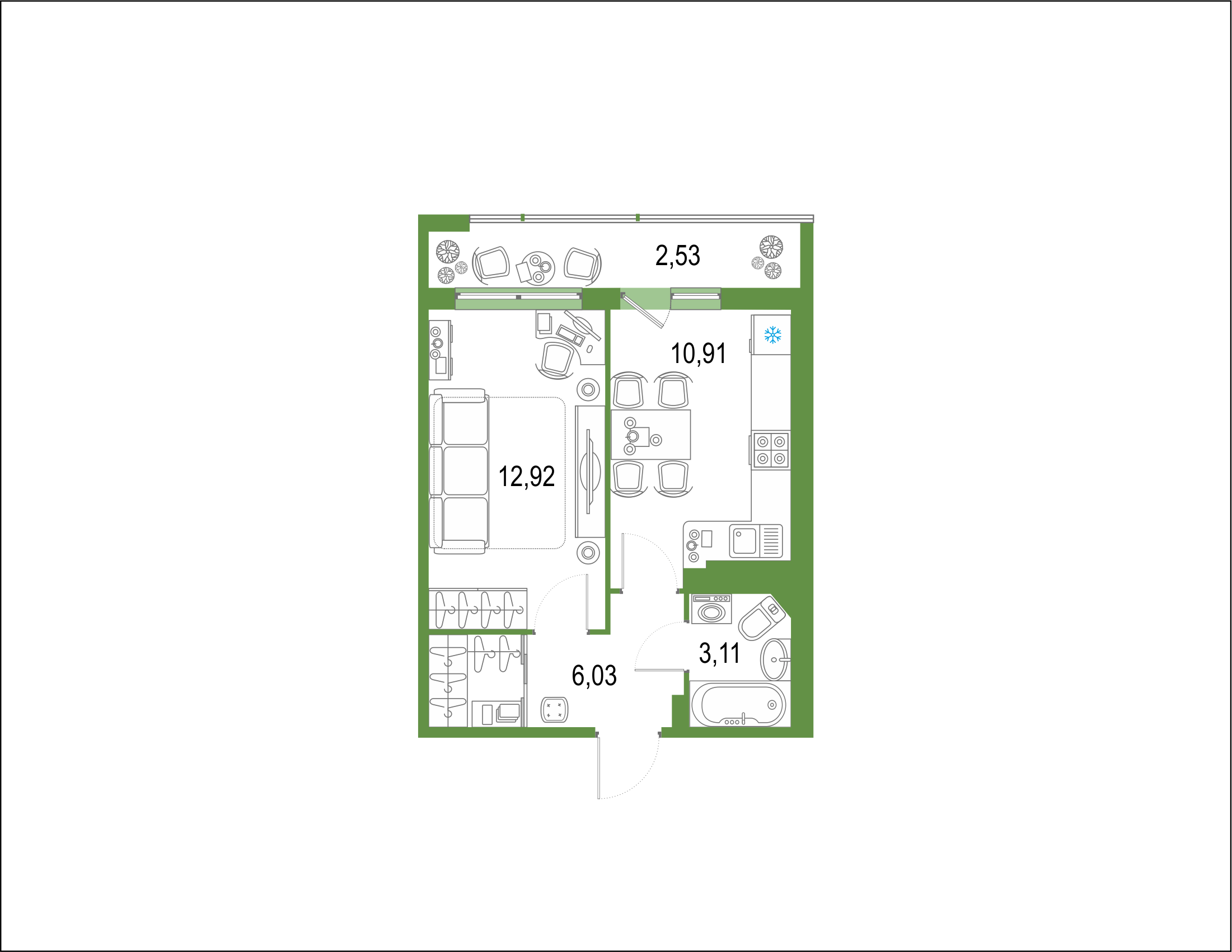 1-комнатная 38 м<sup>2</sup> на 21 этаже