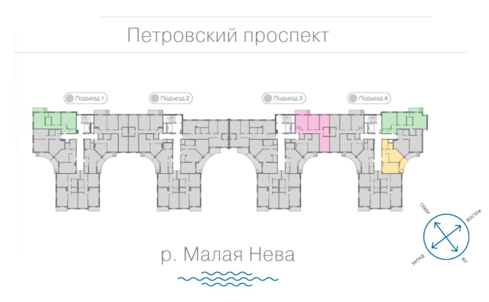 План жилого комплекса ЖК Петровская ривьера