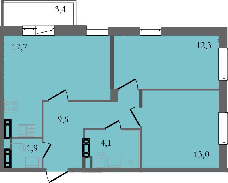 3-комнатная 61 м<sup>2</sup> на 3 этаже