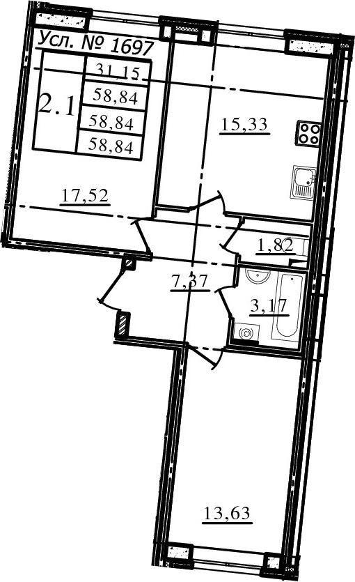3-к.кв (евро), 58.84 м²
