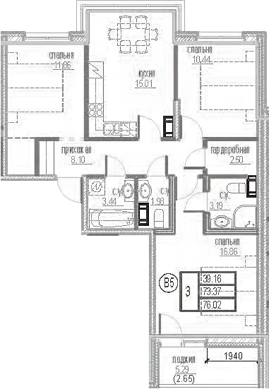 3-комнатная 78 м<sup>2</sup> на 12 этаже
