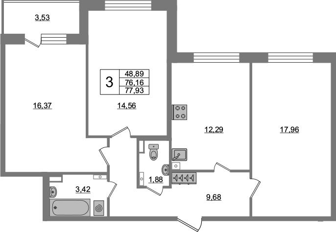 3-комнатная 79 м<sup>2</sup> на 3 этаже