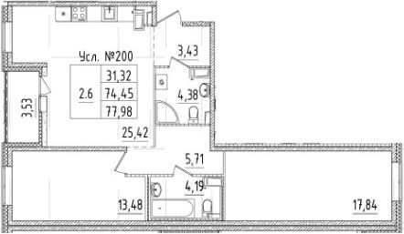 3-комнатная 77 м<sup>2</sup> на 7 этаже