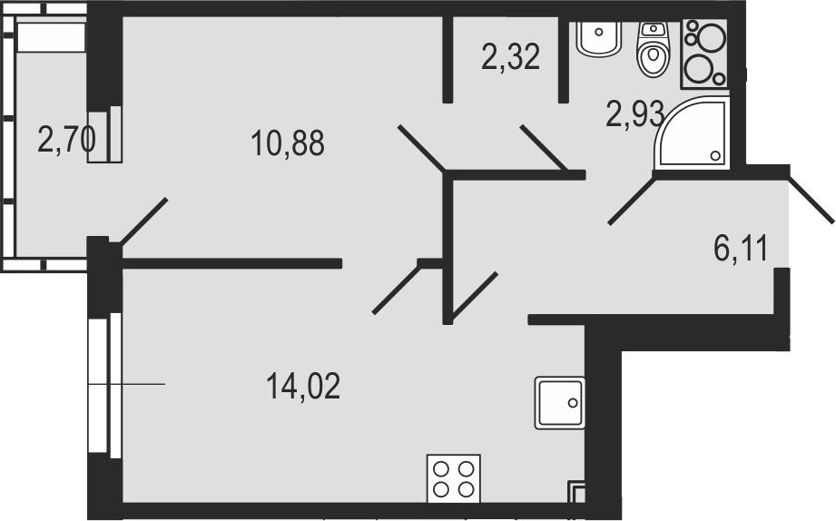 1-комнатная 38 м<sup>2</sup> на 23 этаже