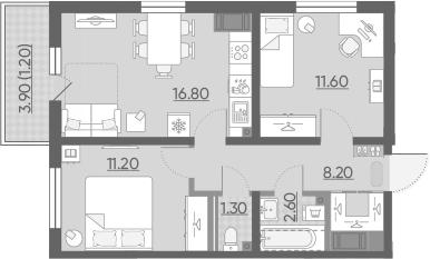 3-комнатная 55 м<sup>2</sup> на 21 этаже