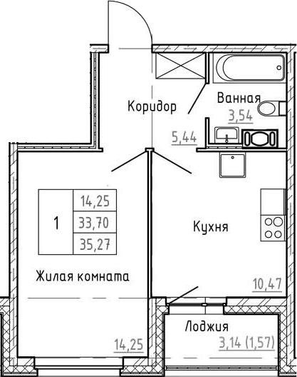 1-комнатная 36 м<sup>2</sup> на 8 этаже