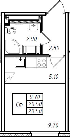 Студия 20 м<sup>2</sup> на 7 этаже