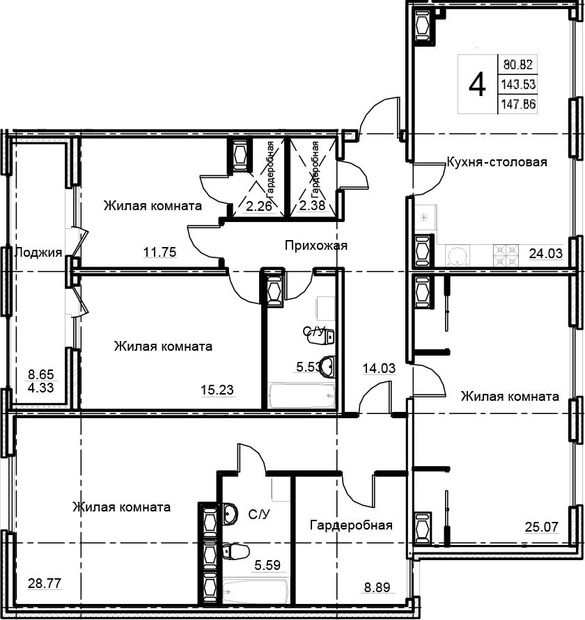 4-комнатная 152 м<sup>2</sup> на 14 этаже
