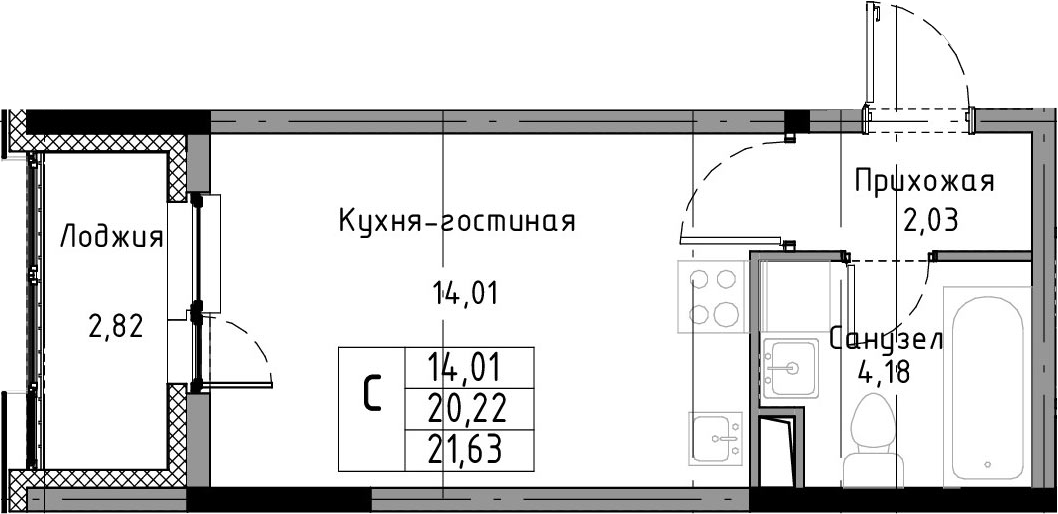 Студия, 23.04 м²