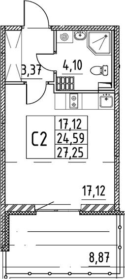 Студия 33 м<sup>2</sup> на 5 этаже