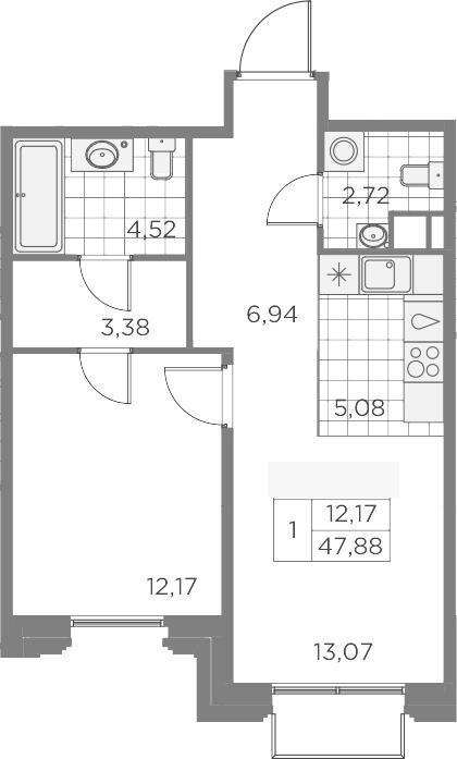 2-комнатная 47 м<sup>2</sup> на 8 этаже
