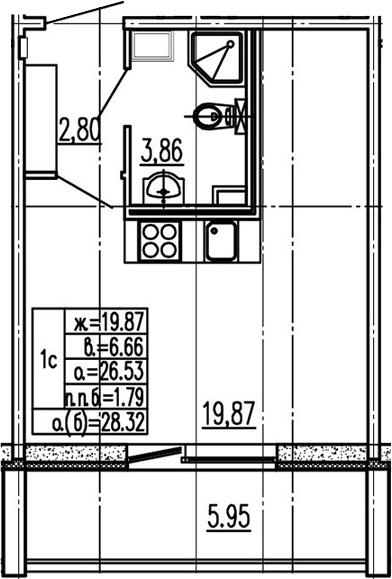 Студия 32 м<sup>2</sup> на 2 этаже