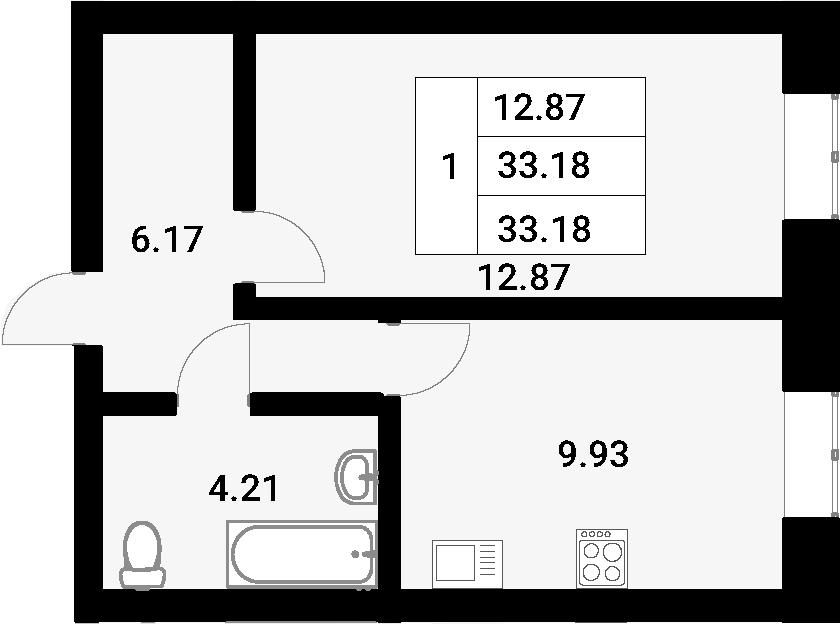 1-к.кв, 33.18 м²