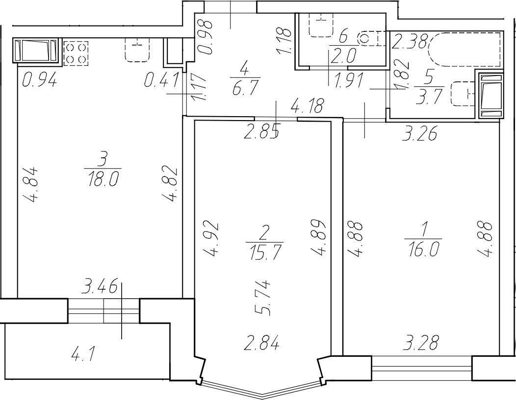 3-комнатная 66 м<sup>2</sup> на 11 этаже