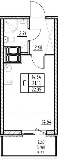 Студия 25 м<sup>2</sup> на 23 этаже