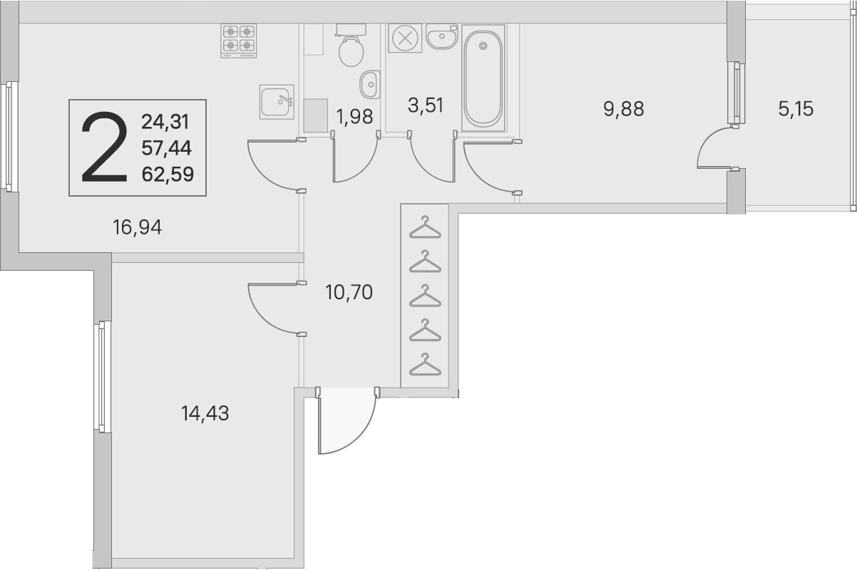 3-комнатная 62 м<sup>2</sup> на 3 этаже