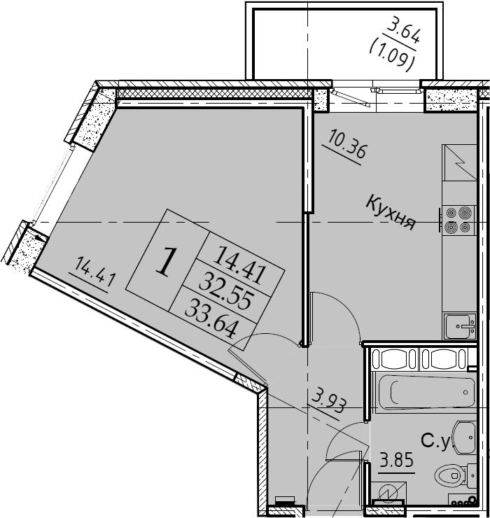 1-комнатная 36 м<sup>2</sup> на 6 этаже
