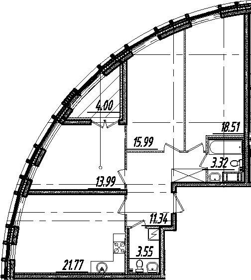 4-комнатная 92 м<sup>2</sup> на 3 этаже