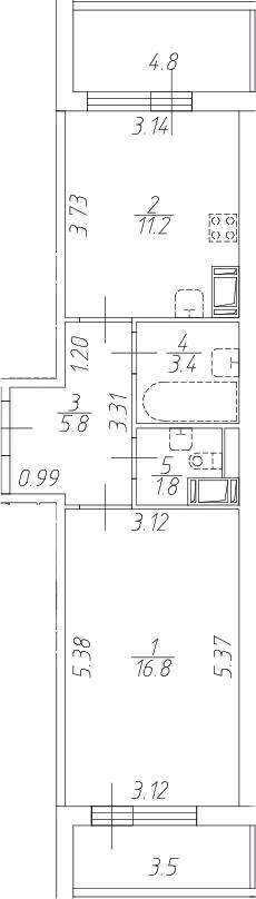 1-комнатная 47 м<sup>2</sup> на 5 этаже