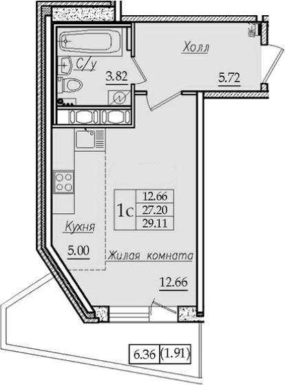 Студия 33 м<sup>2</sup> на 7 этаже