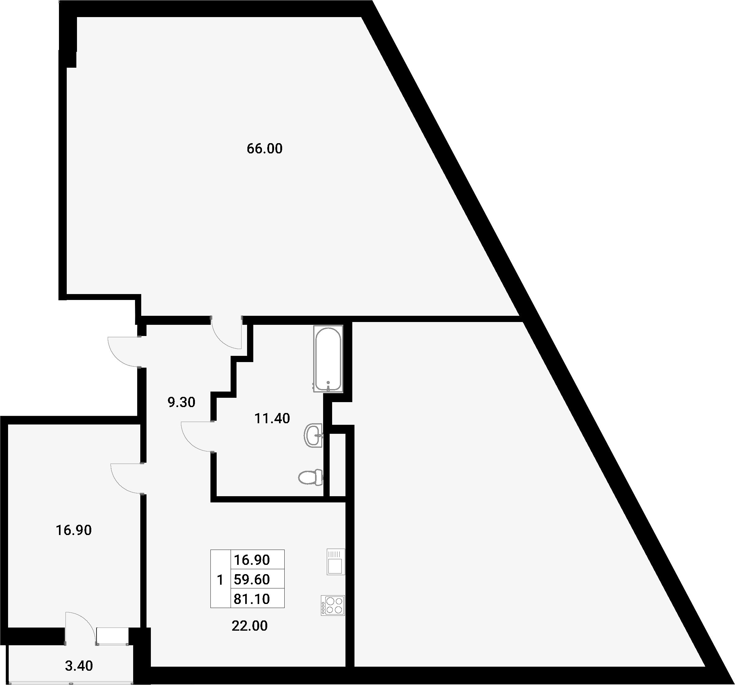 2-к.кв (евро), 129 м²