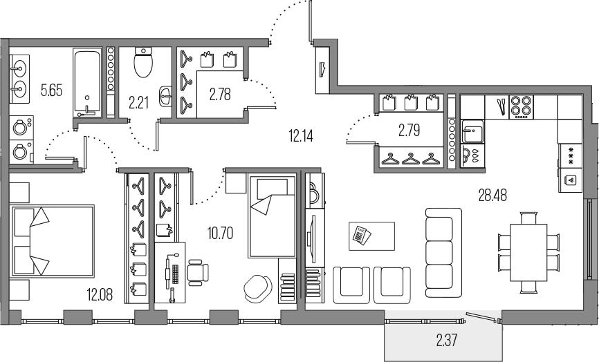 3-комнатная 79 м<sup>2</sup> на 7 этаже