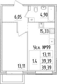 2-к.кв (евро), 39.39 м²