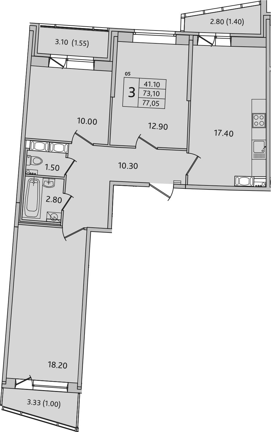 4-комнатная 82 м<sup>2</sup> на 7 этаже
