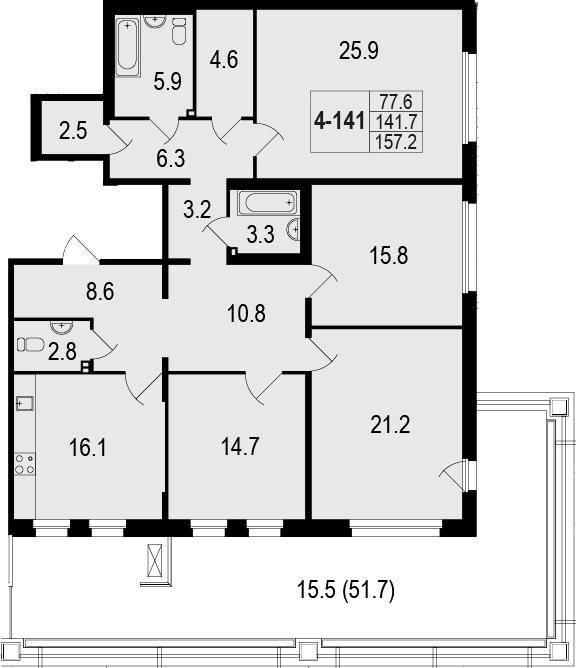 4-комнатная 193 м<sup>2</sup> на 1 этаже
