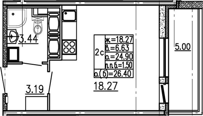 Студия 29 м<sup>2</sup> на 16 этаже