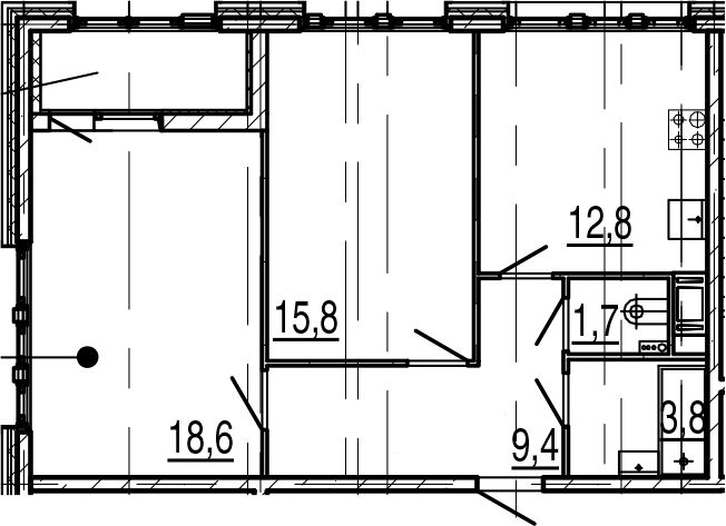 2-комнатная 65 м<sup>2</sup> на 5 этаже