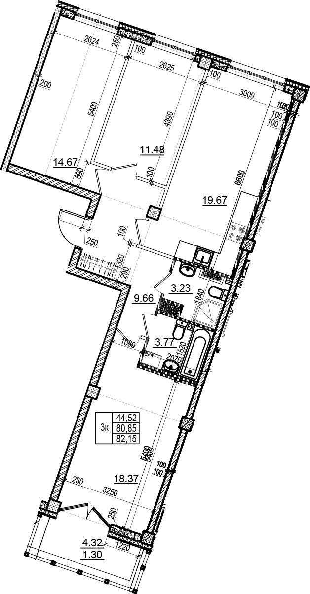 4-комнатная 85 м<sup>2</sup> на 5 этаже