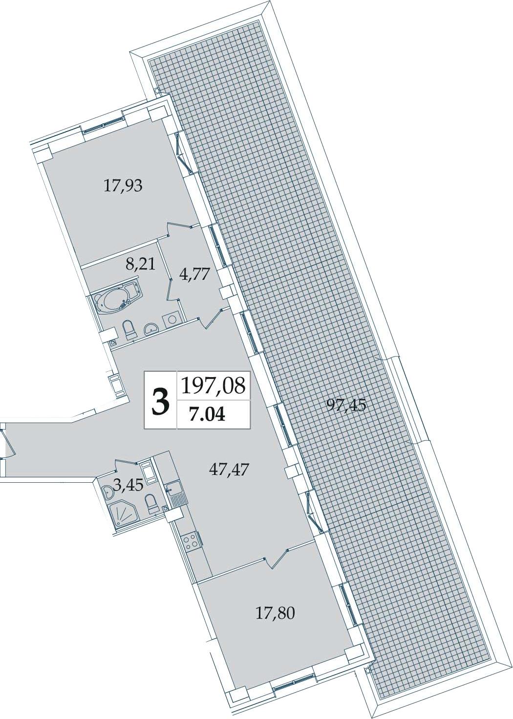 3-комнатная 197 м<sup>2</sup> на 7 этаже