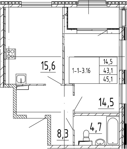 2-комнатная 47 м<sup>2</sup> на 2 этаже