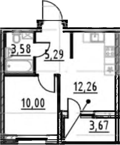 1-комнатная 34 м<sup>2</sup> на 17 этаже