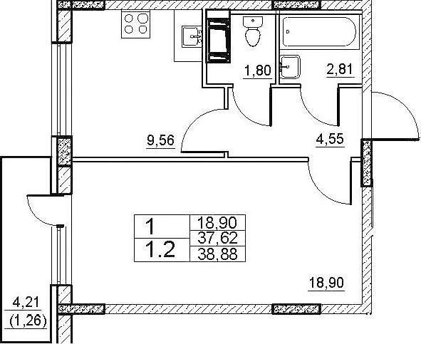 1-комнатная 41 м<sup>2</sup> на 8 этаже