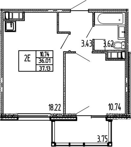 2-к.кв (евро), 39.76 м²