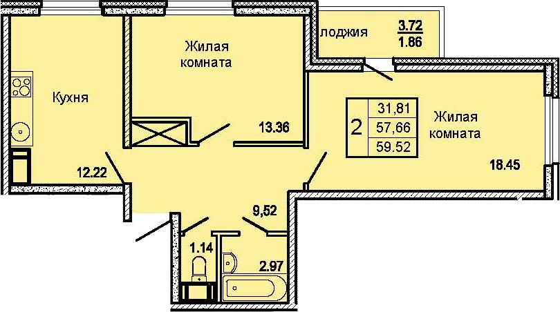 2-комнатная 61 м<sup>2</sup> на 13 этаже