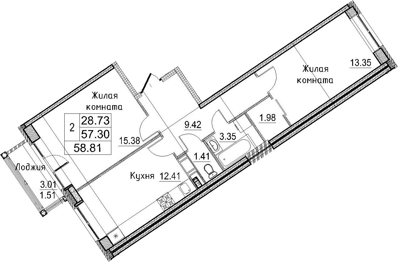 2-к.кв, 60.32 м²