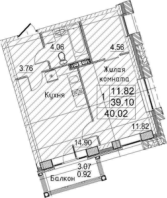 2-к.кв (евро), 42.17 м²