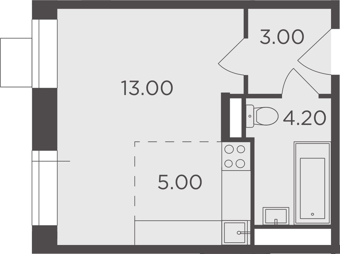 Студия, 25.2 м²